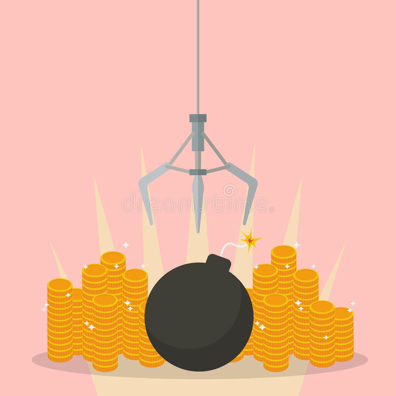 Robotic claw clutching a bomb against money stock illustration