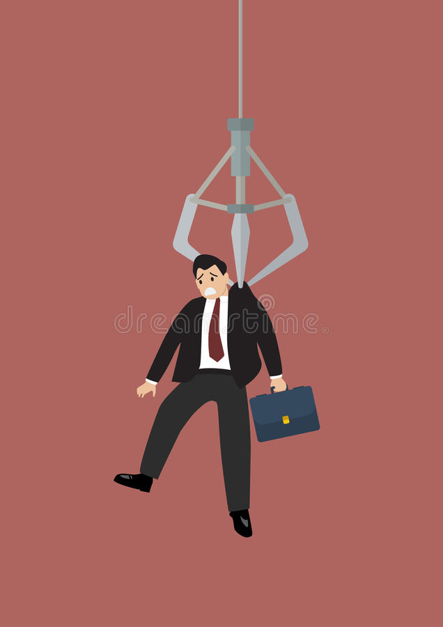 Robotic claw clutching a businessman vector illustration