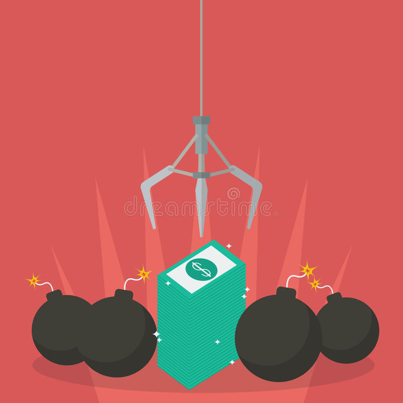 Robotic claw clutching a money against bomb royalty free illustration