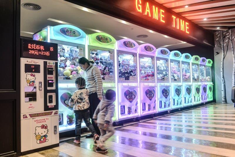 Arcade claw machine toys crane game stock image