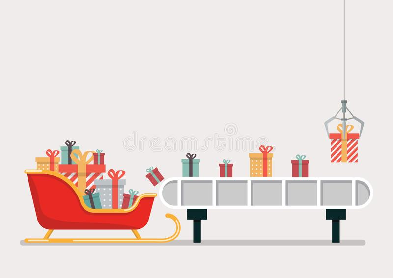 Robotic claw put a gift box on the engine belt royalty free illustration