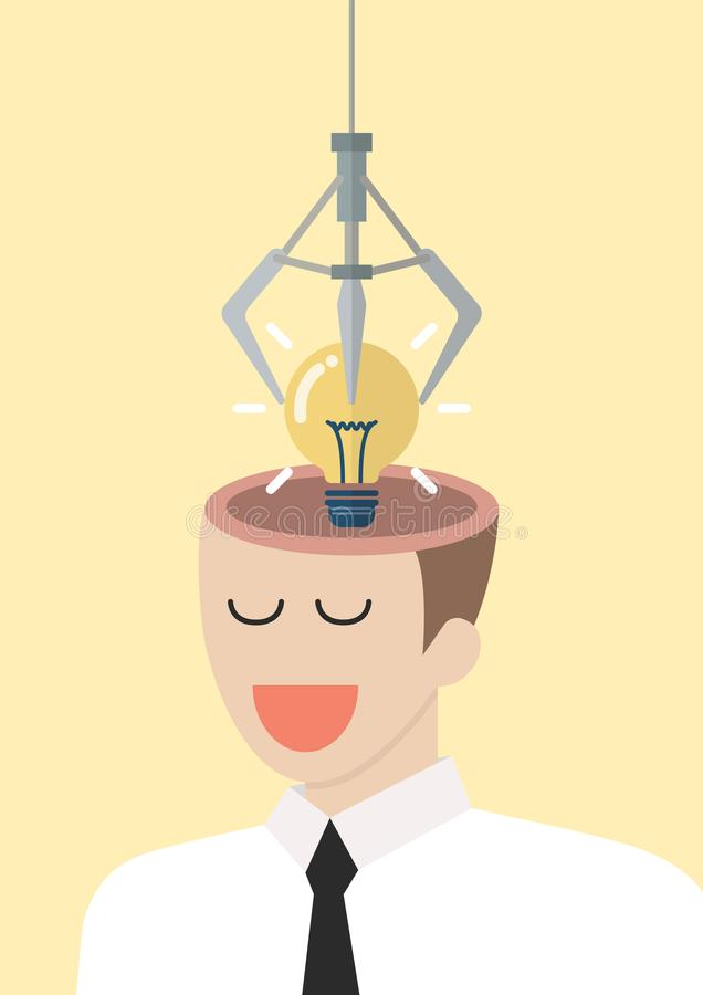 Robotic claw stealing lightbulb idea from a head stock illustration