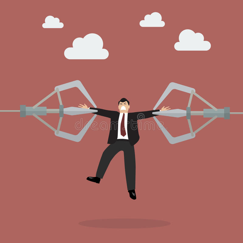 Robotic claws are tearing businessman apart stock illustration