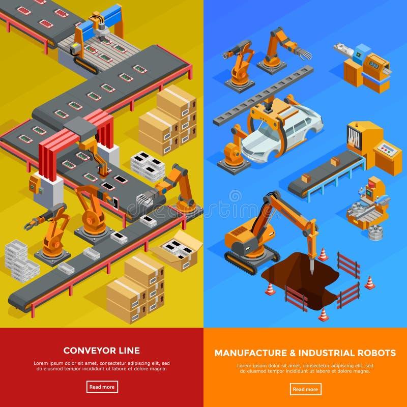 Free Robotic Conveyor Line 2 Isometric Banners Royalty Free Stock Photo - 77986335