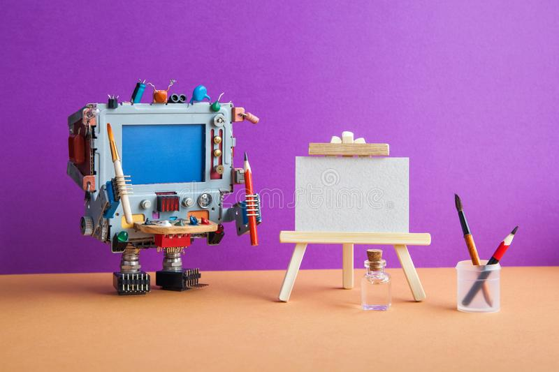 Robotic creativity and artificial intelligence. Robot artist computer with tools, wooden easel, palette brushes pencils royalty free stock photo