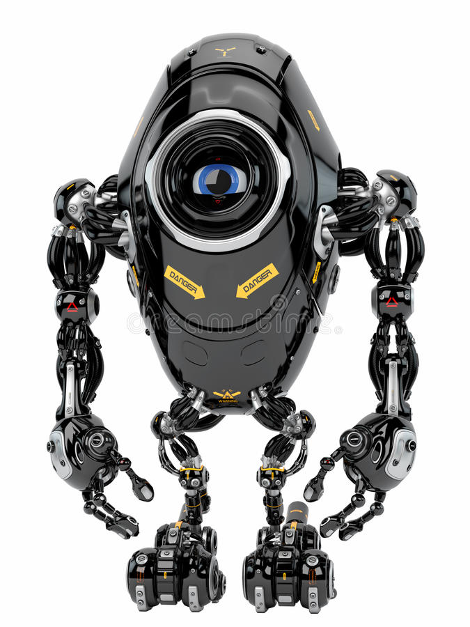 Robotic creature. Stylish black robot in front stock illustration