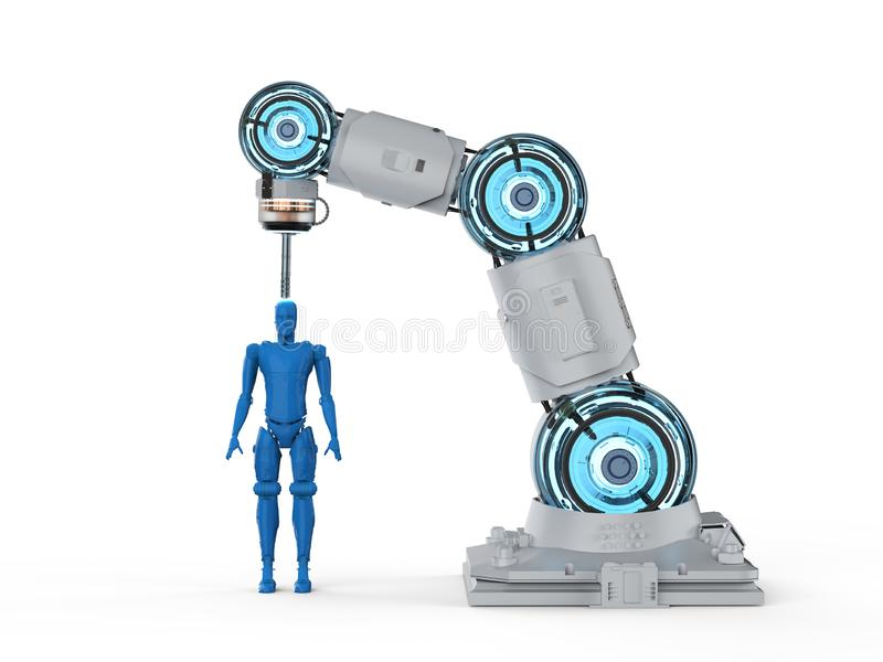Robotic 3d printer. 3d rendering 3d printer printing human figure on white background royalty free illustration