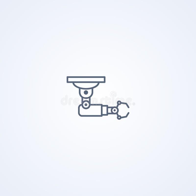 Robotic enhetsarm, bästa grå linje symbol för vektor stock illustrationer