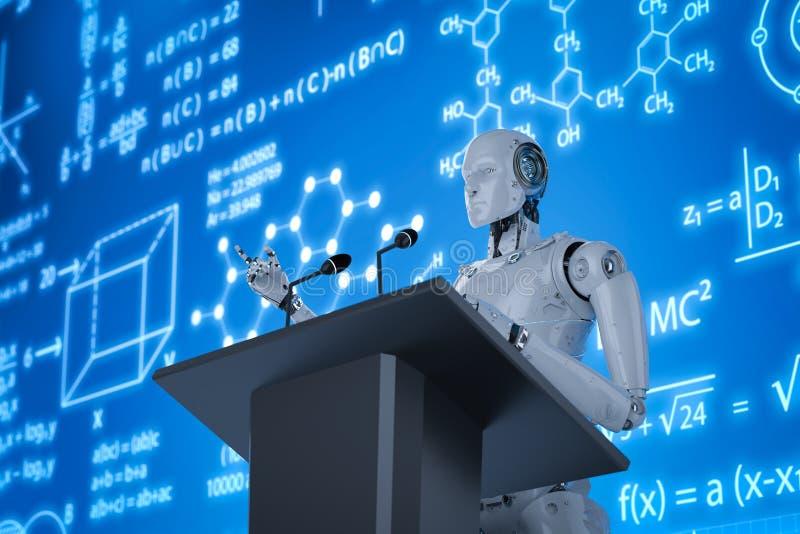 Robotic föreläsareundervisning royaltyfri illustrationer