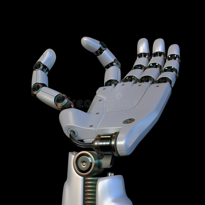 Robotic Hand Your Text Between Fingers vector illustration