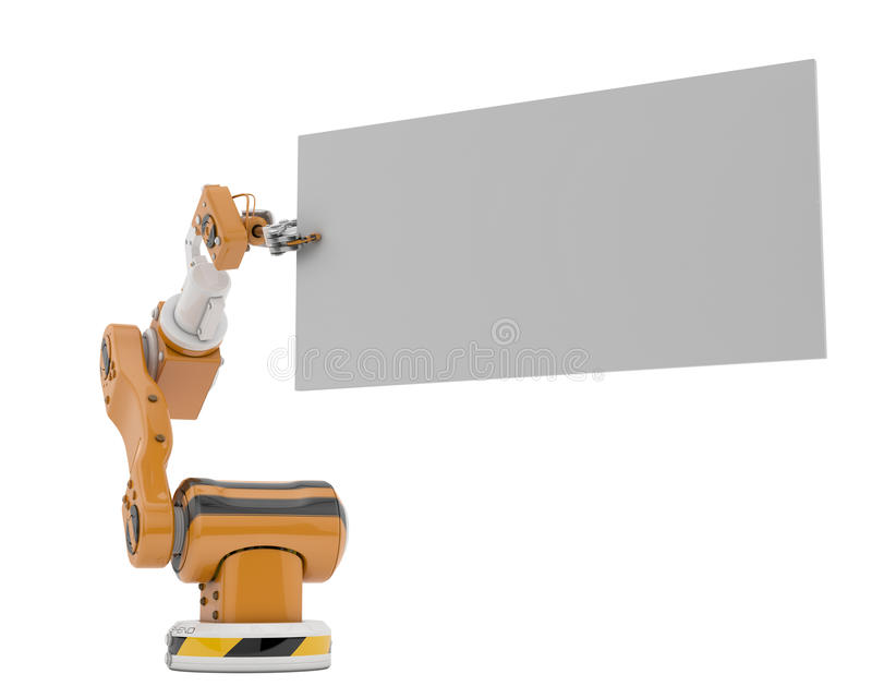 Robotic hand with empty board. Cyber tool holds free board for your ad stock illustration