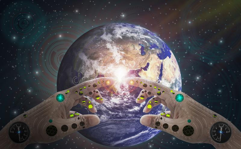Robotic hand and finger touch earth, background deep space and technology icons,With spirit of world, science, advancement and. Human Medical developmen with royalty free illustration