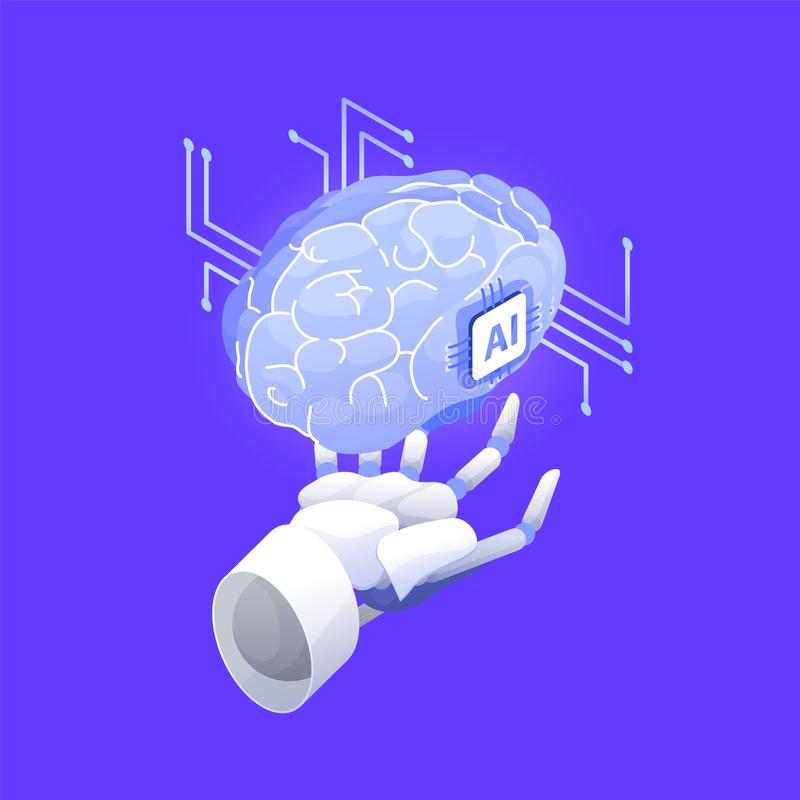 Robotic hand holding brain. Artificial intelligence, smart robot, conscious machine, innovative technology, hi tech stock illustration