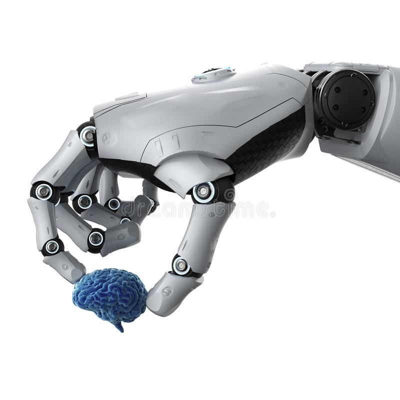 Robotic hand holding brain stock images