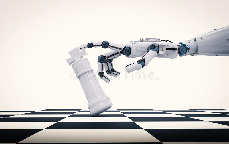 Robotic hand holding chess king stock photos