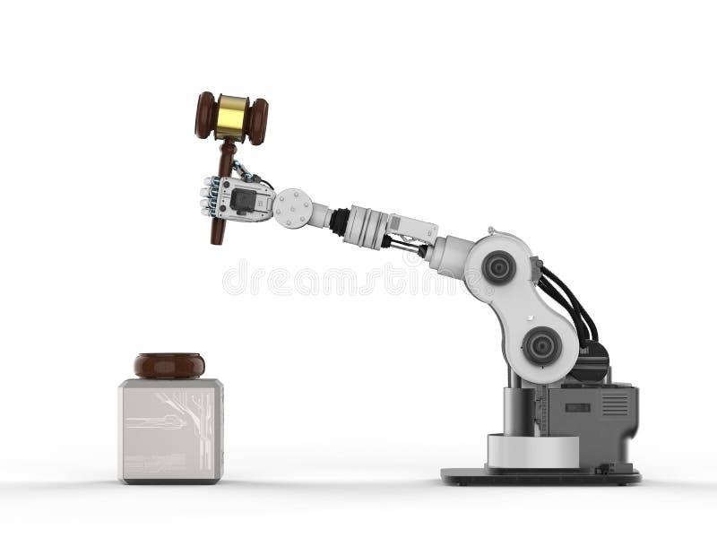 Robotic hand holding gavel judge royalty free illustration