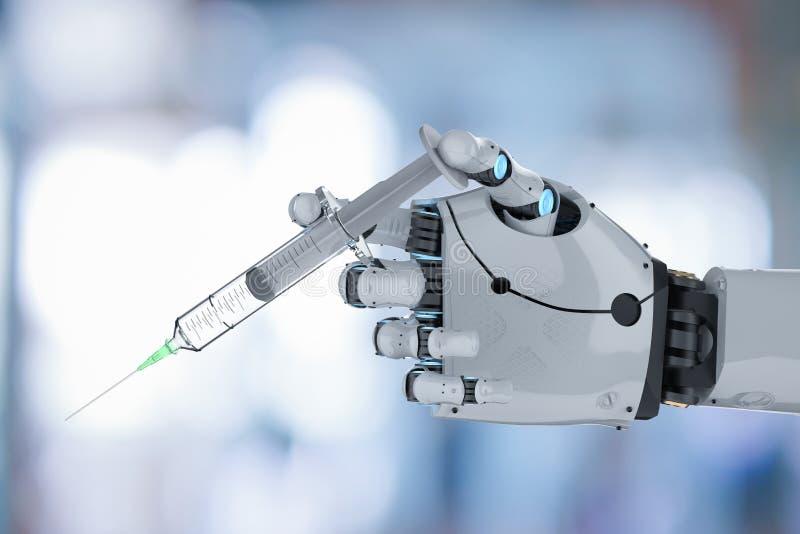 Robotic hand holding syringe vector illustration