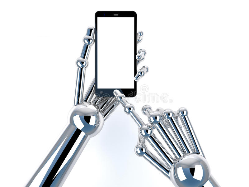 Robotic hand holding and Touch on Black Smartphone with blank screen royalty free stock photos