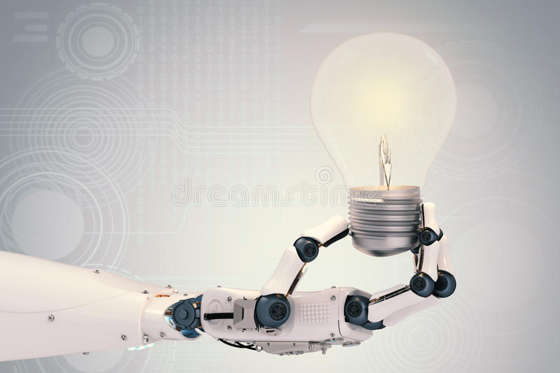 Robotic hand with light bulb royalty free illustration
