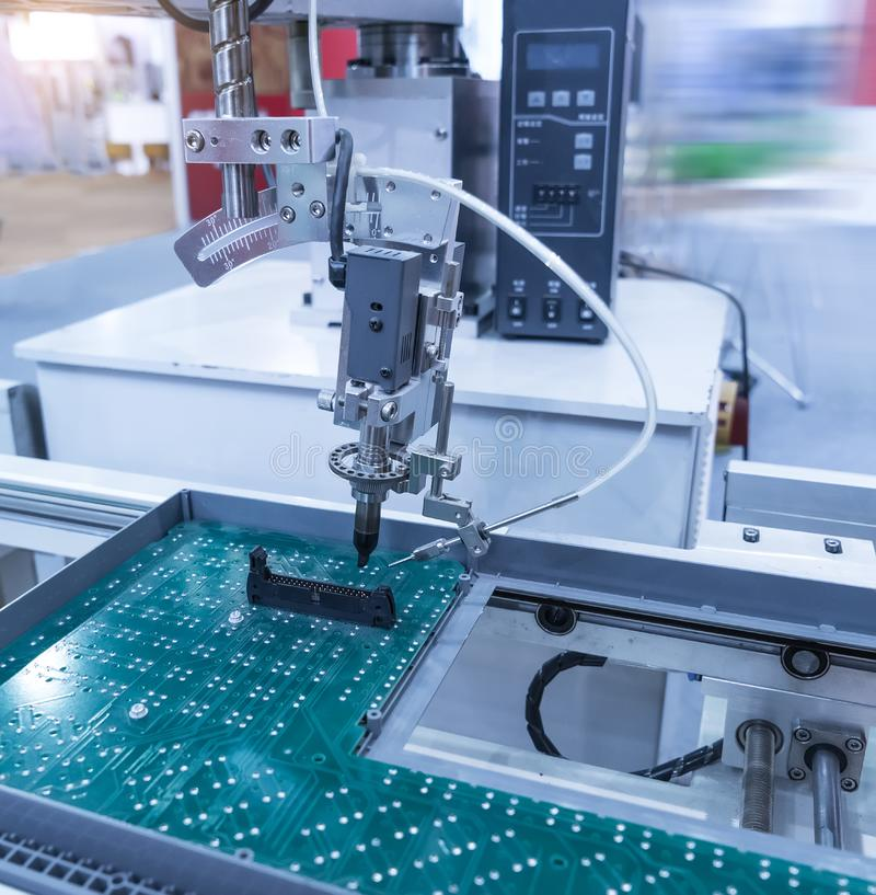 Robotic hand machine tool at industrial factory royalty free stock images