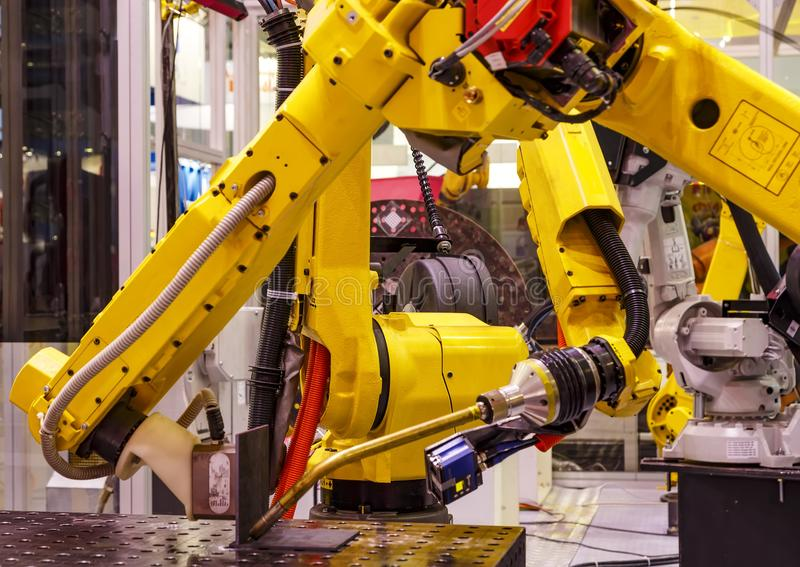 Robotic hand machine tool at industrial manufacture smart factory stock photo