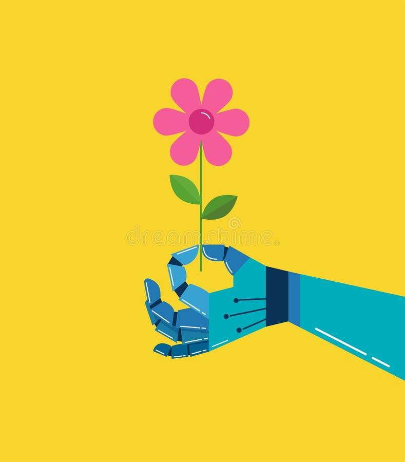 Robotic hand med en blomma, vektorbakgrund stock illustrationer