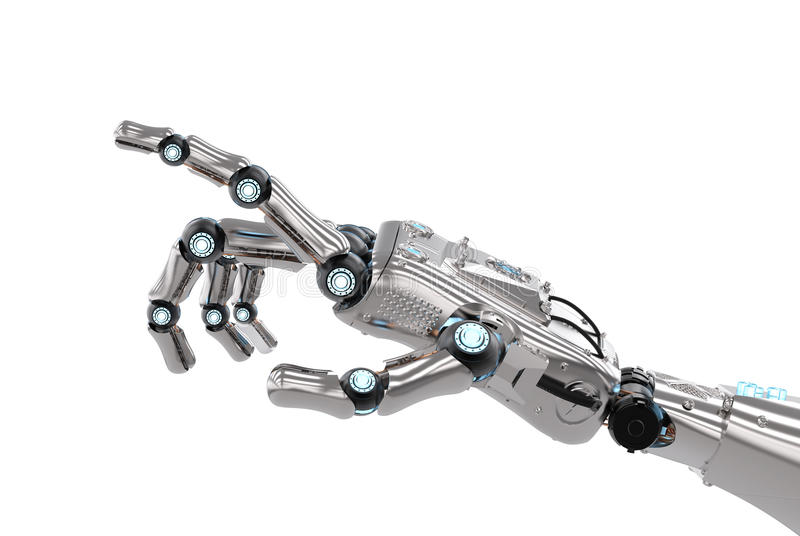 Robotic hand pointing stock image
