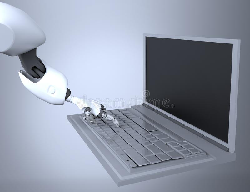 Robotic Hand Pressing Enter Key On Keyboard. 3d rendering. working with computer keyboard stock photos