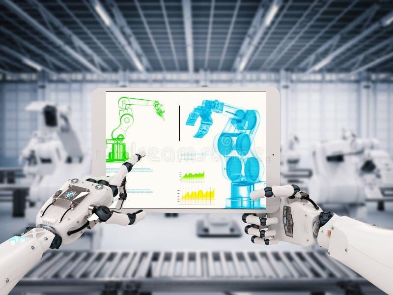 Robotic hand som arbetar med den digitala minnestavlan stock illustrationer