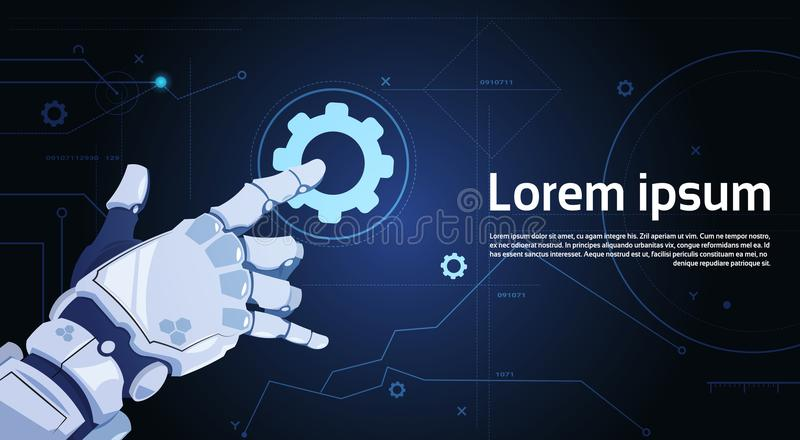 Robotic Hand Touch Gear Icon Technical Support Service And Artificial Intelligence Concept. Flat Vector Illustration vector illustration