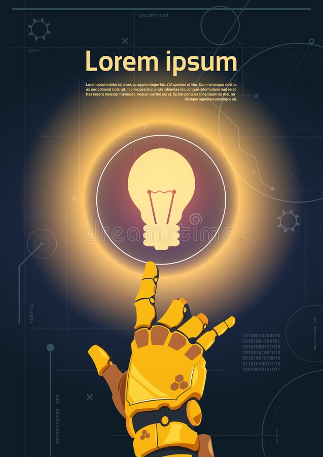 Robotic Hand Touch Light Bulb Button On Digital Screen Banner With Copy Space. Flat Vector Illustration stock illustration