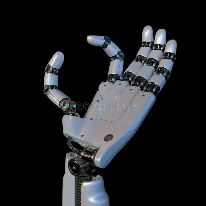 Robotic Hand Your Text Between Fingers royalty free illustration