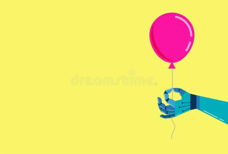 Robotic handbakgrund med en rosa ballong stock illustrationer