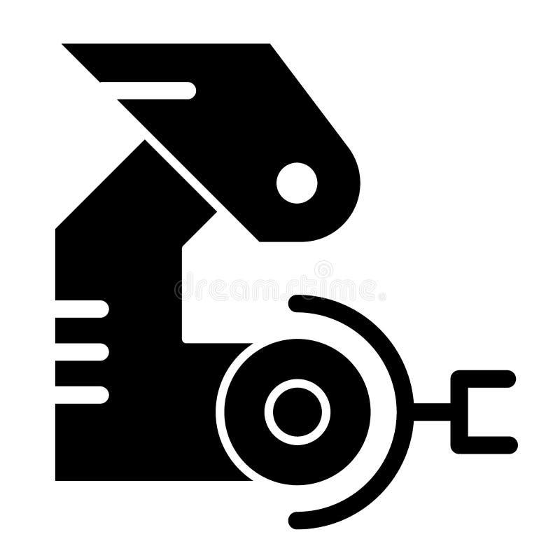 Robotic handheltäckandesymbol Mekanisk jordluckrarevektorillustration som isoleras på vit Fabriks- skårastildesign royaltyfri illustrationer