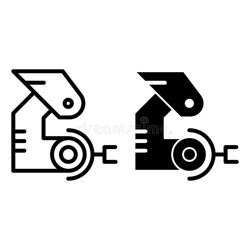 Robotic handlinje och skårasymbol Mekanisk jordluckrarevektorillustration som isoleras på vit Fabriks- översiktsstil vektor illustrationer