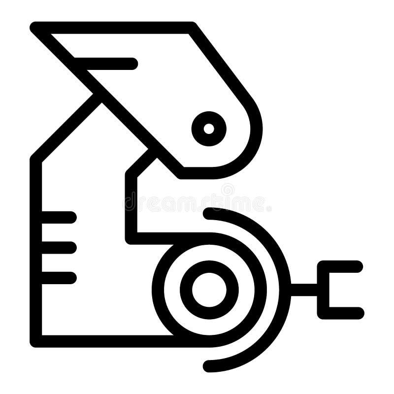 Robotic handlinje symbol Mekanisk jordluckrarevektorillustration som isoleras på vit Fabriks- översiktsstildesign royaltyfri illustrationer