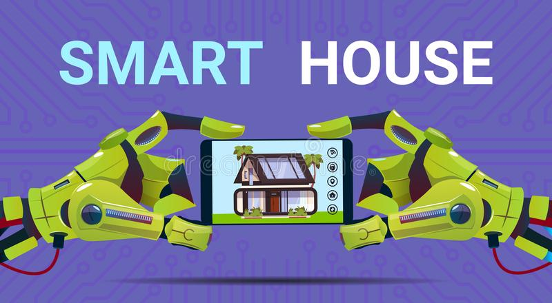 Robotic Hands Holding Digital Tablet With Smart House Monitoring Interface Technology Of Home Automation Concept. Flat Vector Illustration royalty free illustration