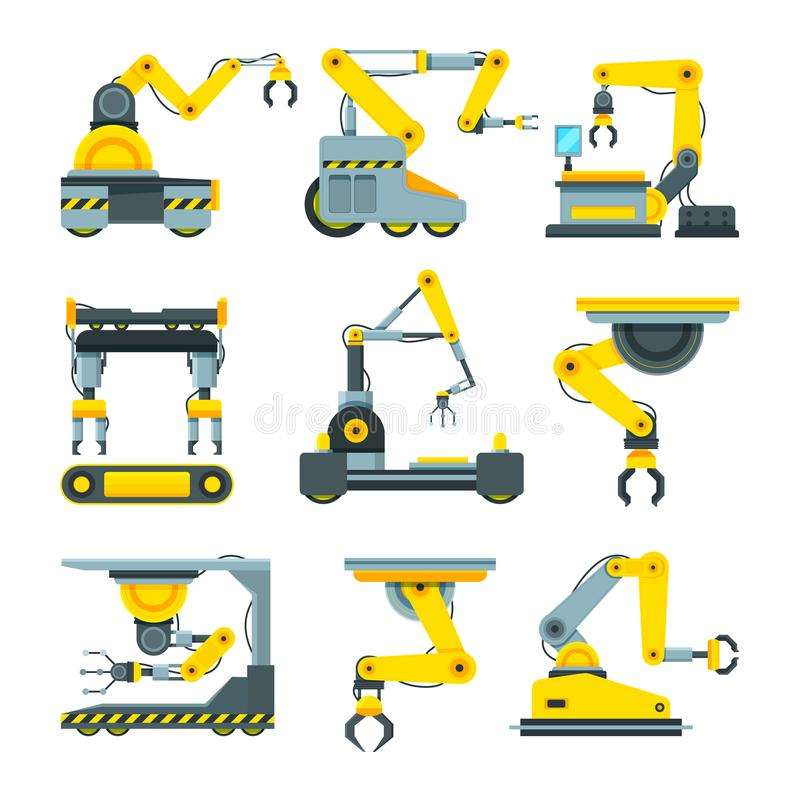 Robotic hands for machine industry. Illustrations of mechanical industrial equipment royalty free illustration