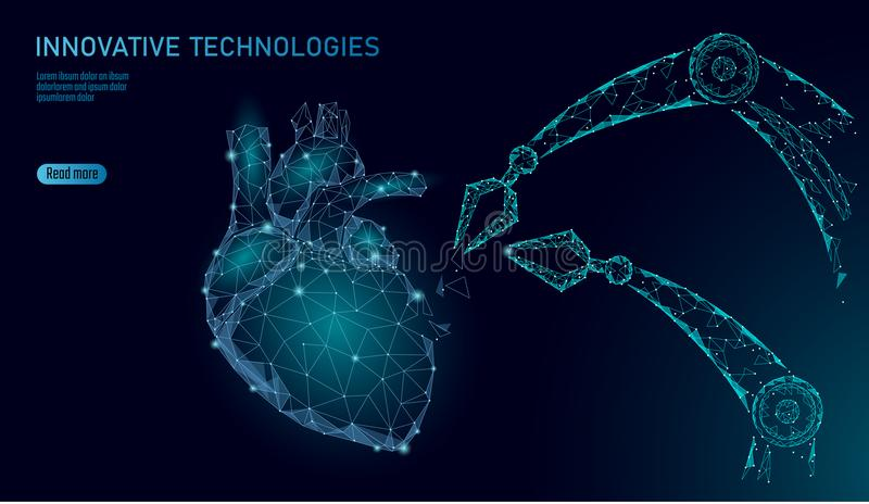 Robotic heart surgery low poly. Polygonal cardiology surgery procedure. Robot arm manipulator. Modern innovative vector illustration