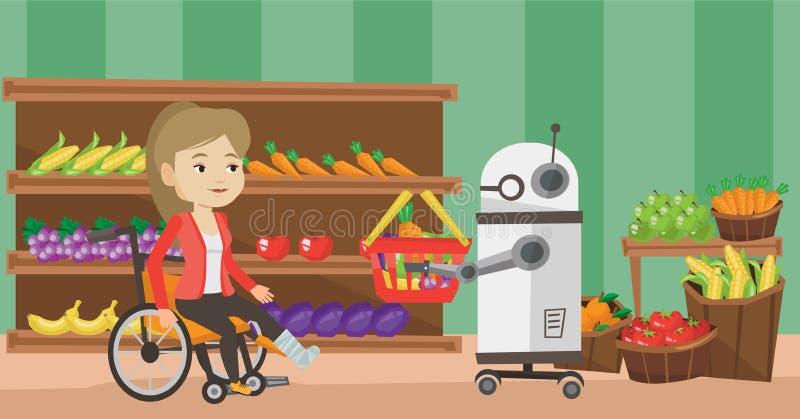 Robotic hjälpreda som arbetar i supermarket vektor illustrationer