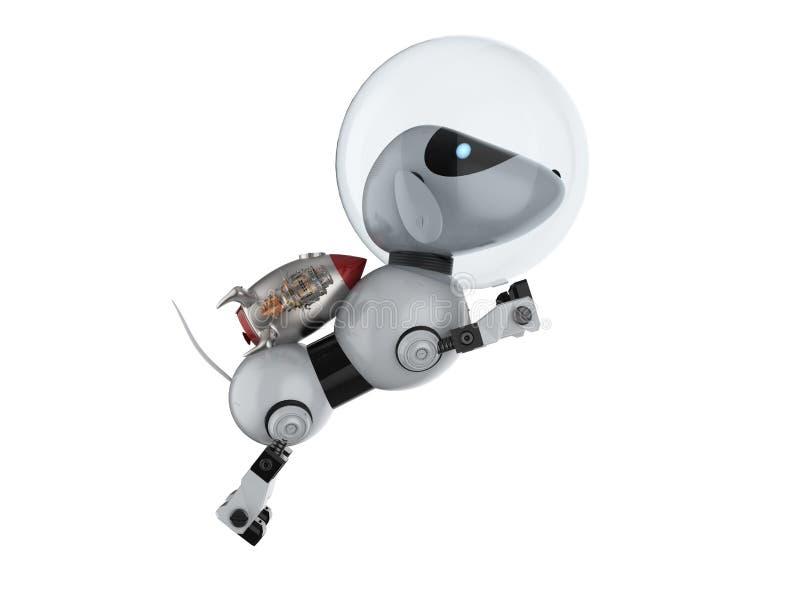 Robotic hundastronautfluga upp vektor illustrationer