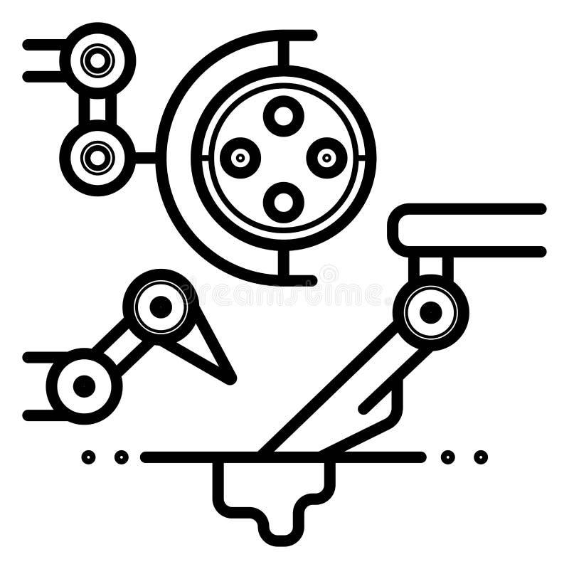 Robotic illustration för armsymbolsvektor vektor illustrationer