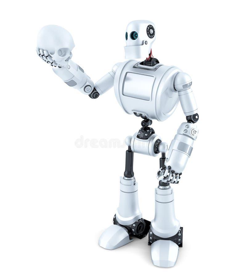 Robotic innehav en mänsklig skalle isolerat Innehåller den snabba banan royaltyfri illustrationer