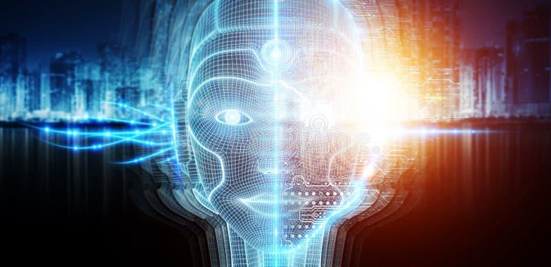 Robotic kvinnacyborgframsida som föreställer tolkningen för konstgjord intelligens 3D vektor illustrationer