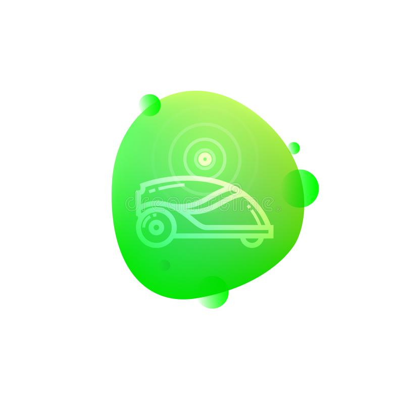 Robotic Lawn Mower icon. Vector illustration of hi-tech robotic lawn mower icon isolated on white background.n stock illustration
