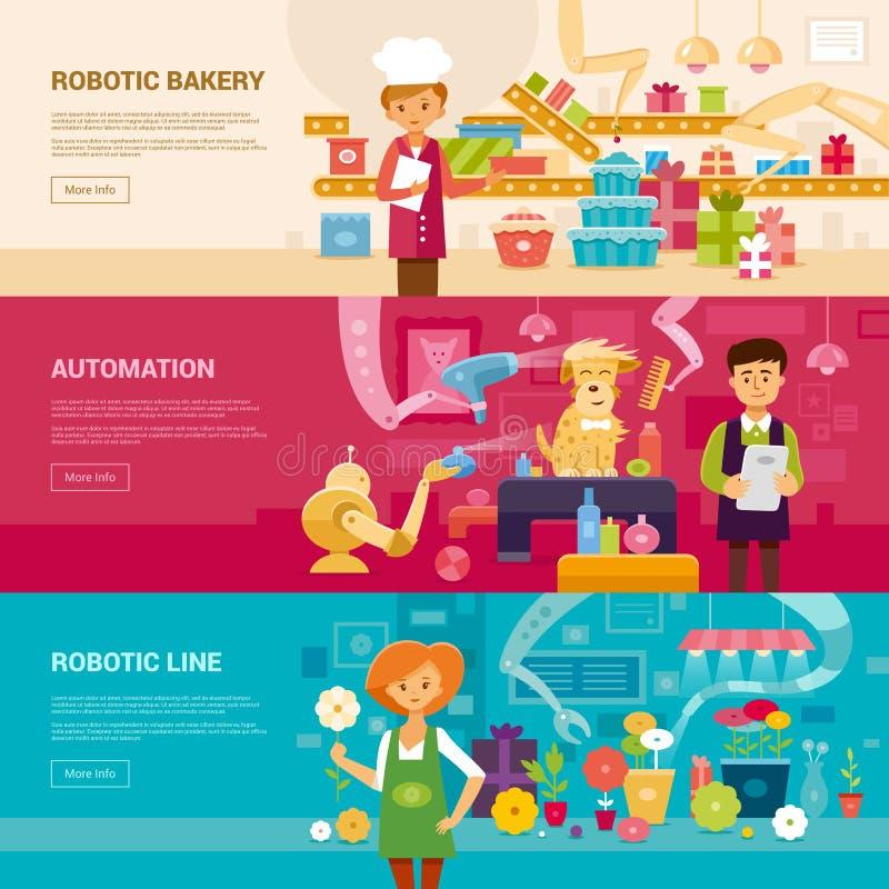 Robotic line. Flat vector illustration. royalty free stock photography