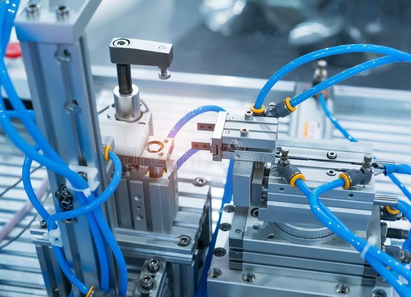 Robotic machine tool in industrial manufacture plant,Smart factory stock photography