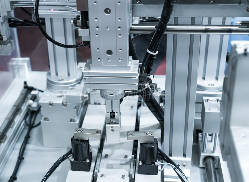 Robotic machine tool in industrial manufacture plant,Smart factory stock photo