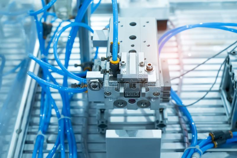 Robotic machine tool in industrial manufacture plant,Smart factory royalty free stock image
