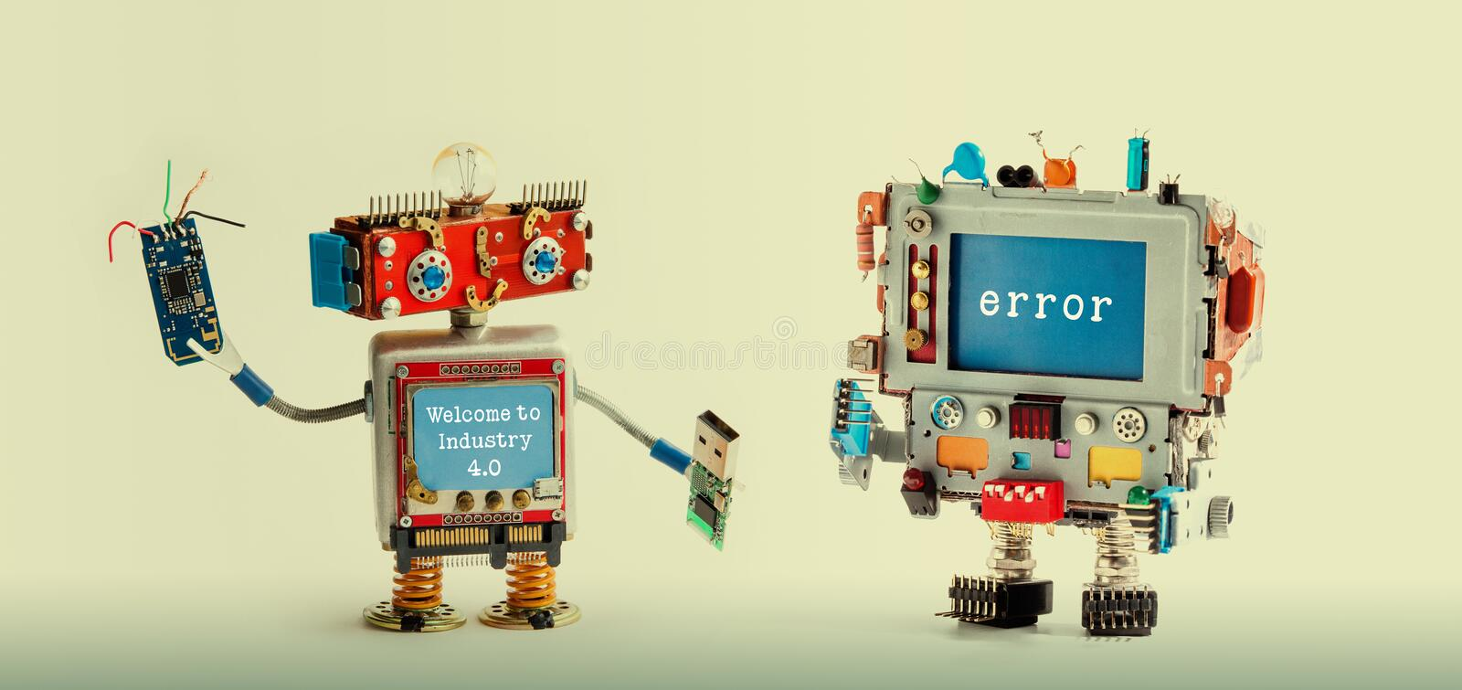 Robotic maintenance repair fix concept. IT specialist robot, smiley red head, chip usb flash stick, quote Welcome to royalty free stock photography